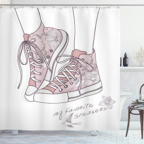 """Lunarable Nursery Shower Curtain, Shoes with Floral Pattern Teenage Girls Sneakers Flowers Birds Retro Urban, Cloth Fabric Bathroom Decor Set with Hooks, 70"""" Long, Dried Rose White"""