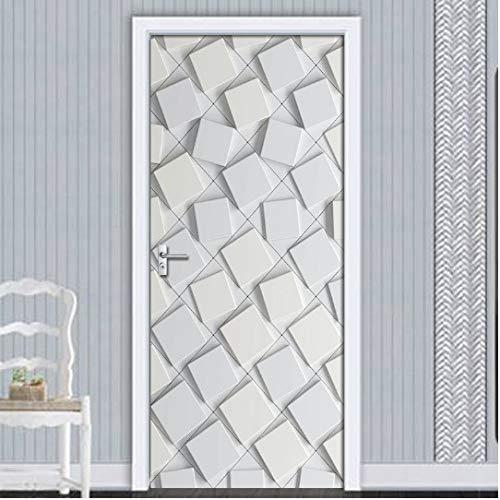 Mural de Pegatinas de Puerta, Pegatina de Puerta autoadhesiva Impermeable Abstracta geométrica gráfica Gris Papel Tapiz decoración de la Puerta de la Sala de Estar Pegatina de Pared calcomanía 3D