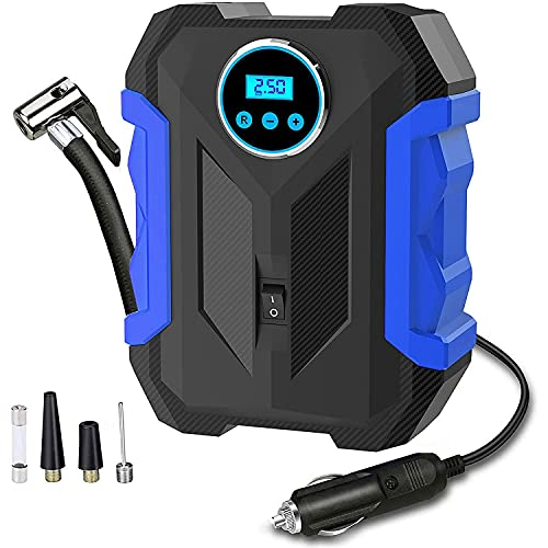 Ctzrzyt Digital Display Tyre Inflator Portable Air Compressor,DC12V 120W Air Pump with Tyre Pressure Gauge and LED,Auto Shut Off
