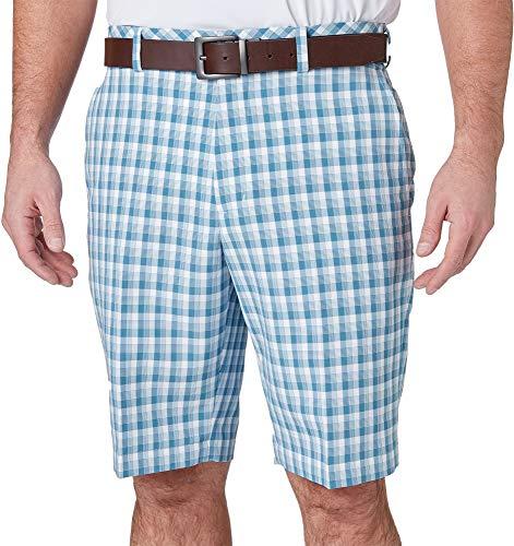 Walter Hagen Mens Perfect 11 Brush Stroke Plaid Golf Shorts (Niagara Blue, 34)