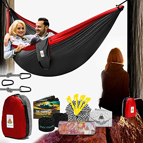 Lazy Monk Camping Hammock | Portable Outdoor Folding Hamock for Travel & Backpacking | Double Two People 2 Person Hammock with Tree Straps | Hamaca para dos - Best Accessories Kit + Bandana