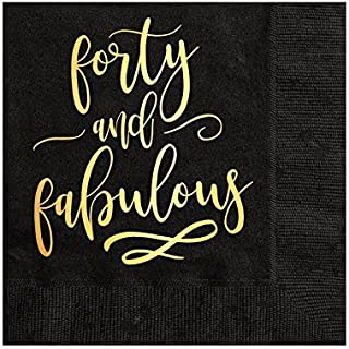 Forty and Fabulous Napkins, 40th Birthday Cocktail Napkins, Beverage Napkins, 40th Birthday Party Decor, Gold Foil, Black and Gold Napkins, Set of 25, 40th Birthday Party for Her, 40 and Fabulous