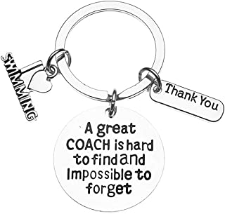 Sportybella Swim Coach Keychain, Swimming Coach Gifts, Great Coach is Hard to Find Coach Keychain