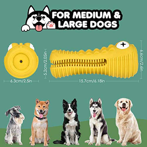 BASEIN Dog Chew Toys for Aggressive Chewers Large Medium Breed, with Squeaky Aggressive Chew Toys Tough Chew Toys for Medium Large Dogs, Chew Proof Dog Toothbrush Toys Dental Care