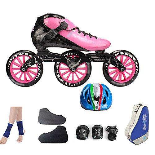 ZCRFY Carbonfaser-Eisschnelllauf-Schuhe, Die Professionelle Große Rollerskate-Schuhrollschuhe Der Erwachsenen Kinder Rollen Inline-Rollschuhe Rosa,PinkE-34