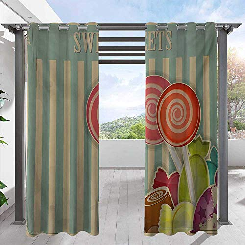 Print Curtains Retro Old Candy Store Chocolates Lollipops with White Stripes on Baby Blue Backdrop Blackout Patio Outdoor Curtains Can Be Used in The Winter Months/The Snow Multicolor W108 x L96 Inch