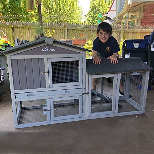 Aivituvin Rabbit Hutch Indoor Bunny Cage Outdoor-Infinitely Extension Design, Expandable Rabbit Cage Bunny House with Run - Leakproof Plastic Tray