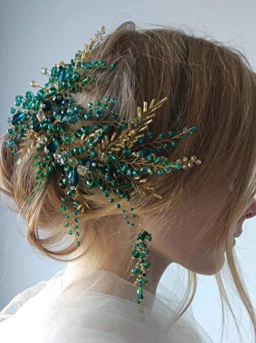 feilai Bohe Green Hair Vine Hair Piece Crystal Headdress Bridal Gold Hair Accessories Wedding Hair Accessories Bride Headband for Women (Color : Headband earrings)
