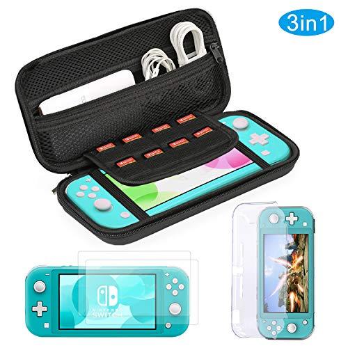 Bestico Kit Accessori per Nintendo Switch Lite, Custodia per Nintendo Switch Lite, Cover in Cristallo Trasparente, 9H Vetro Temperato Protezioni Pelli
