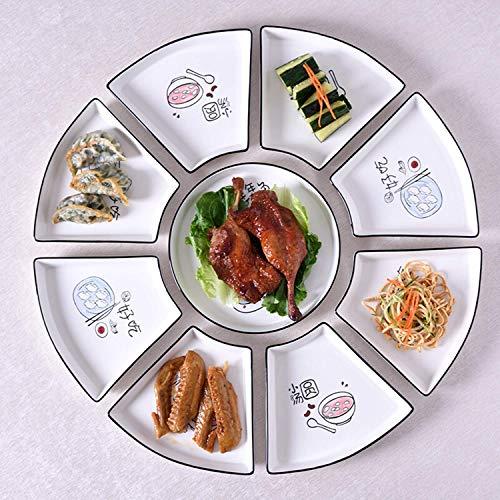 ZJZ Juego de vajilla de cerámica de 9 Piezas, Juego de Platos, Horno microondas de Apoyo, Horno, para Suministros de Cocina y Comedor