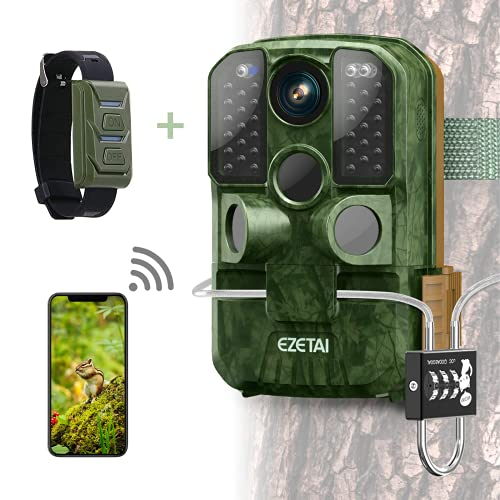 Wifi Trail Camera,EZETAI 24mp Game Cameras 1296P HD Wildlife Hunting Camera With Night Vision Motion Activated for Outdoor Wildlife Monitoring,App Download and Sends Picture to Cell Phone,Lock,Hotspot