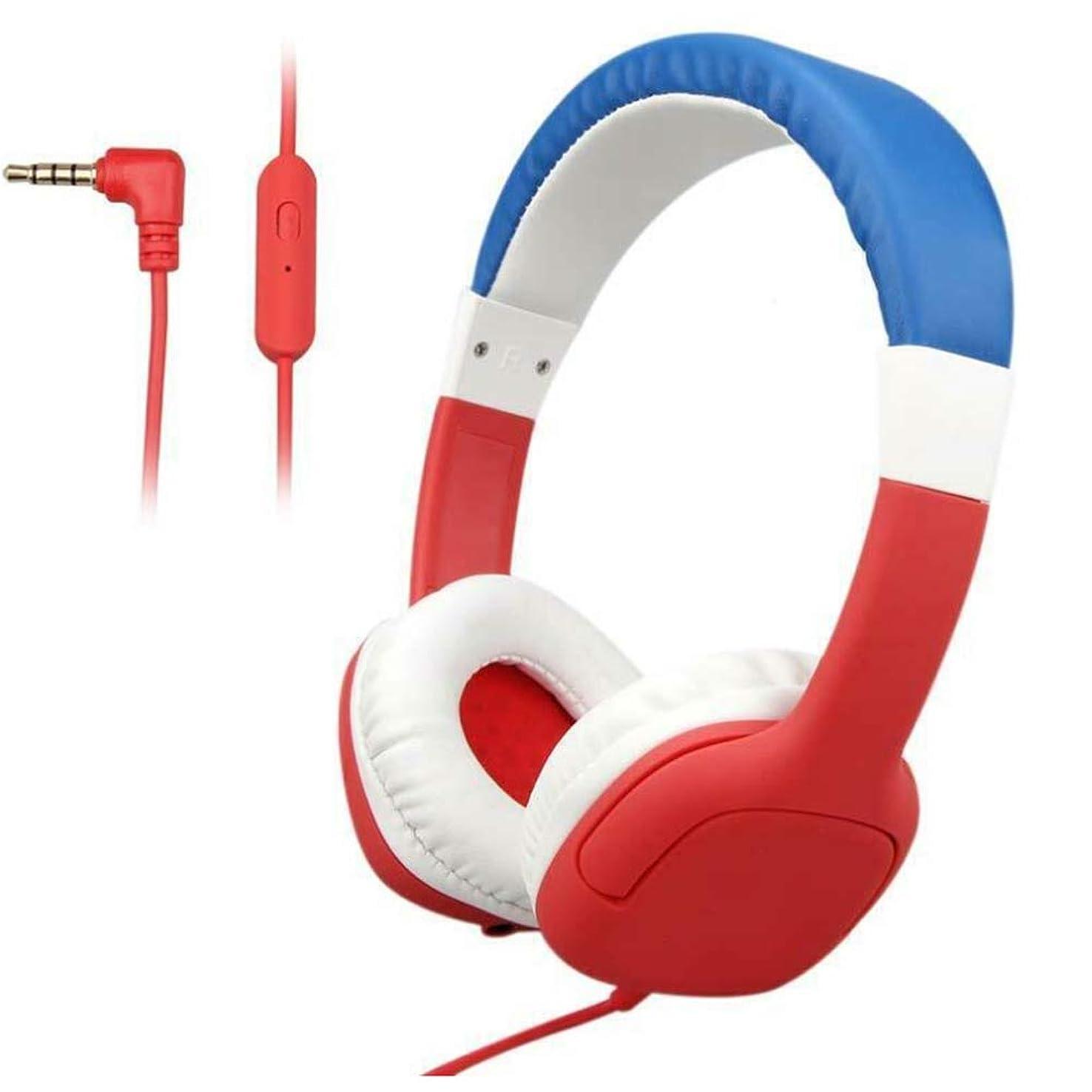 ほこりっぽい多数の規定子供用ヘッドフォン有線子供用学習ヘッドホン音量制限3.5 MM、ステレオサウンド、折りたたみ式、94デシベルボリュームリミテッドオンイヤーお子様