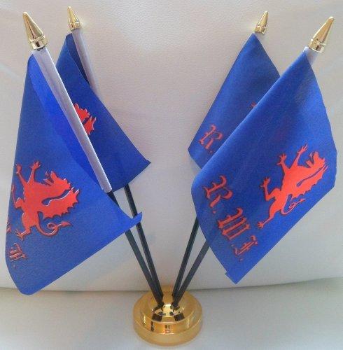 Royal Welch Fusiliers 4 Drapeau de Table pour centre de Table avec Base dorée