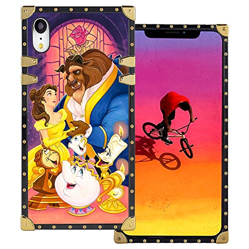 DISNEY COLLECTION iPhone Xr Square Case Beauty and The Beast Luxury Cute Design Metal Decoration Full Protective Soft TPU Shockproof Back Cover Compatible for iPhone Xr 6.1 Inch