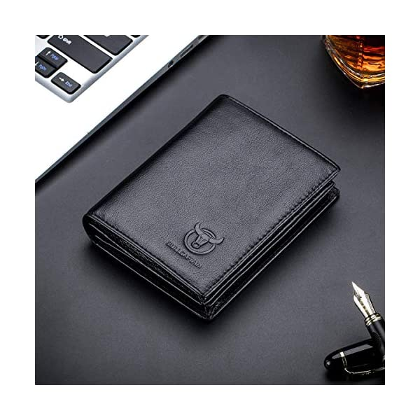 Bullcaptain Large Capacity Genuine Leather Bifold Wallet/Credit Card Holder for Men with 15 Card Slots QB-027 2