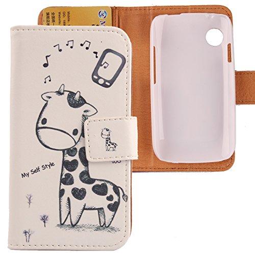 Lankashi PU Flip Leder Tasche Hülle Hülle Cover Schutz Handy Etui Skin Für Wiko Ozzy Giraffe Design