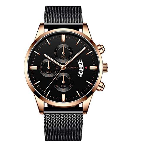 COOKI Men's Watch Fashion Business Wristwatch Analog Quartz Watch Dress Calendar Watch Stainless Steel Band Watches for Men Rose Gold