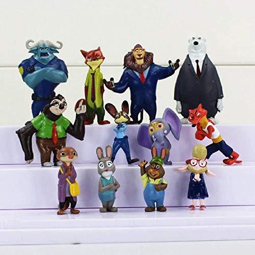 GSDGSD Increíbles 12 Piezas Zootopia Animales Figura de acción Juguetes Conejo Judy Hopps Fox Nick Wilde película niños colección de Regalos Figuras