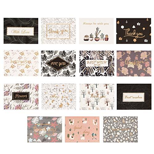 QAQGEAR 120 st guldfolie tackkort 15 mönster med kuvert för företag, bröllop, presentkort, examen, baby shower, födelsedagsfest och alla tillfällen