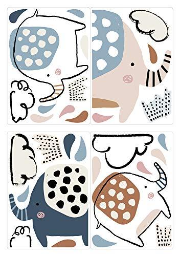 dekodino® Fenstersticker Kinderzimmer Pastell Elefanten mit Kronen Set