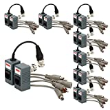 ZREALBANG BNC to RJ45 CAT5 Video + Audio + Power Balun Transceiver for CCTV Camera (pack of 8)