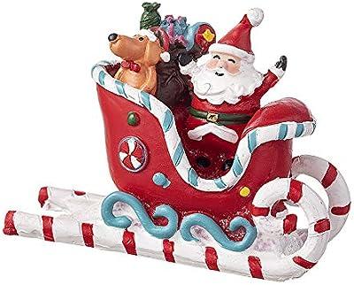 Amazon Com Darice Mini Figurine Santa In Sleigh 3 X 4 13 Inches Multicolor Home Kitchen