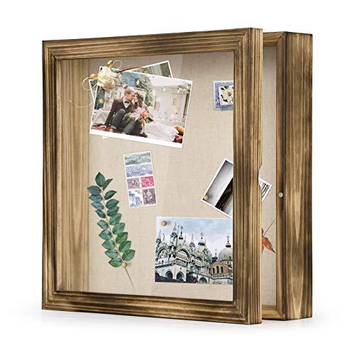 Love-KANKEI 3D Bilderrahmen 28 x 28 cm Holz Objektrahmen zum Befüllen Shadow Box Frame mit 8 Stecknadeln , Geschenk für Familie Freunde usw. (Braun)