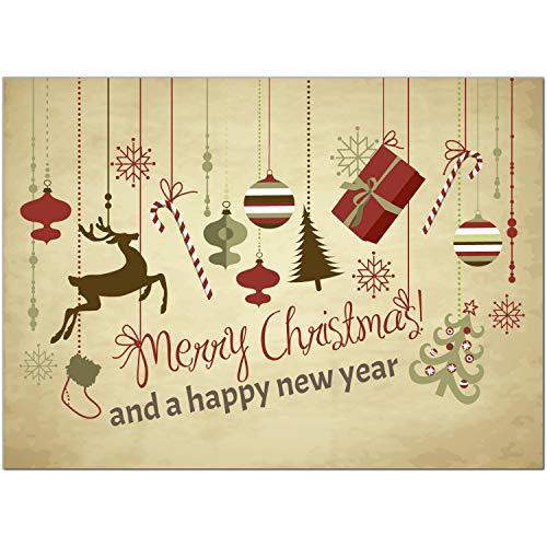 15 x moderne Weihnachtskarten mit Umschlag, Motiv Weihnachtliche Anhänger Merry Christmas (Beige, Vintage, Braun) im Postkarten Format/Weihnachten/Weihnachtspostkarten