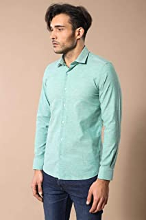 Yeşil Keten Slimfit Gömlek M