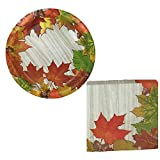 Thanksgiving Luncheon Disposable Paper plates and Napkin set (Serves 18 Guests) Fall Leaves & Acorns