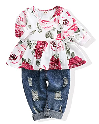 Baby Girls Clothes 2T 3T Baby Girl Outfit Cute Floral Shirt Tops Denim Ripped Jeans Gift Long Pant Infant Clothing Set