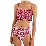 HUIO Bikinis para MujerBikini De Cintura Alta con Estampado Floral Ditsy para Mujer Traje De Ba?o Acolchado Recortado (Size:6; Color:Red)
