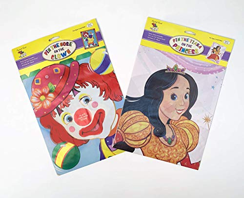 2 Party Games for Kids: Pin-The-Tiara-On-The-Princess and Pin-The-Nose-On-The-Clown