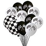 Oringaga 50PCS Checkered Racing Car Flag Party Balloons - Racing Car/Dirt Bike/Motocross Themed Party Decorations Supplies Black White Checkered Balloon