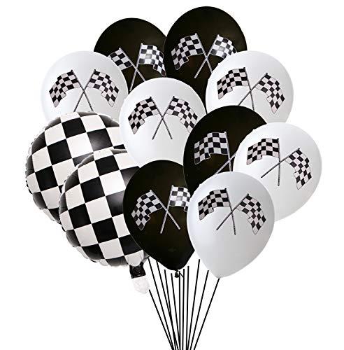 50PCS Checkered Racing Car Flag Party Balloons - Racing Car/Dirt Bike/Motocross Themed Party Decorations Supplies Black White Checkered Balloon