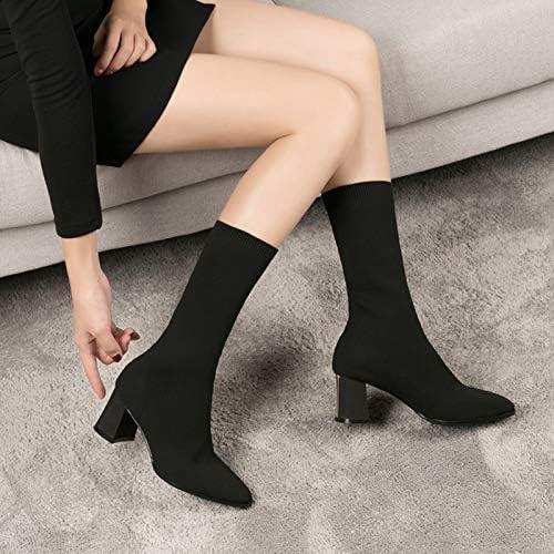 Shukun Botines Modelos de otoño e Invierno para mujer con Moda de tacón Alto en la sección Larga de Las botas de Tubo