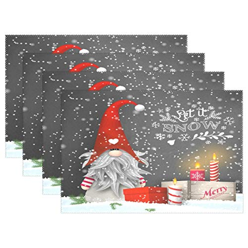 Wamika Merry Christmas Gnome Placemats Set of 6 Xmas Gifts Winter Snowflakes Table Mats Anti-Skid Washable Heat Resistant Place Mats Party Kitchen Decorations 12 X 18 inch
