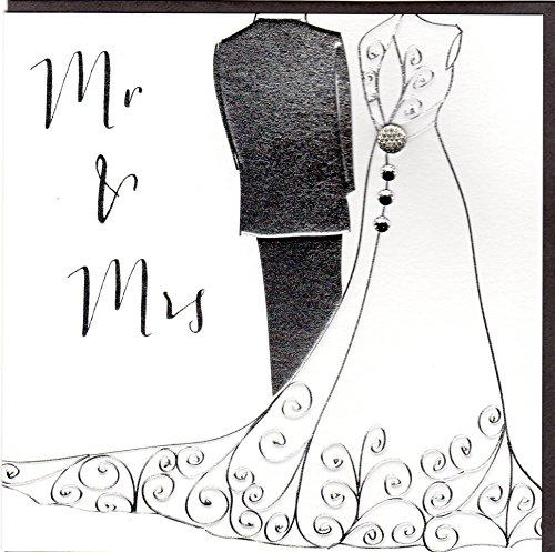 Belly Button Designs Glückwunschkarte zur Hochzeit mit Kristallen, Prägung und Folienauflage in Silber BB022