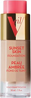 Veil Cosmetics Sunset Skin Liquid Foundation (2N) Makeup for All Skin Types, Vegan & Cruelty-Free, Oil Free, Paraben Free