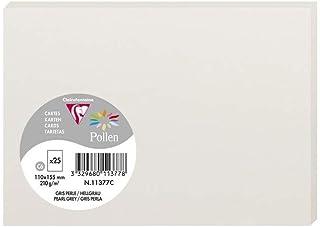 Clairefontaine 11377C - Un paquet de 25 cartes Pollen 11x15,5 cm 210g, Gris perle