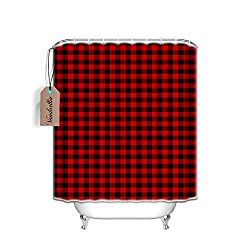 buffalo plaid christmas decor shower curtain
