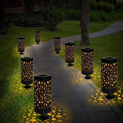 Solarleuchte Garten, 8er Solar LED Garten Bahn Lichter Solarlampe Laterne Außenleuchte Wasserdicht IP44 LED Lichteffekt Dekoration Licht für Terrasse Rasen Garten Hinterhöfe Wege,Warmweiße