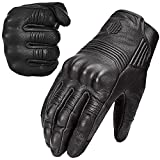 ILM Goatskin Leather Motorcycle Motorbike Powersports Racing Gloves Touchscreen for Men and Women Black (XL, Black Unperforated)