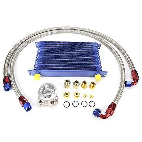 Qiilu 13 filas de enfriador universal de aceite del motor, conjunto de radiador del enfriador de aceite del motor de transmisión del automóvil AN10