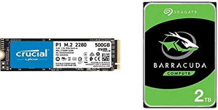 Crucial P1 500GB 3D NAND NVMe PCIe Internal SSD & Seagate Barracuda 2TB Internal Hard Drive HDD – 3.5 Inch SATA 6Gb/s 7200...