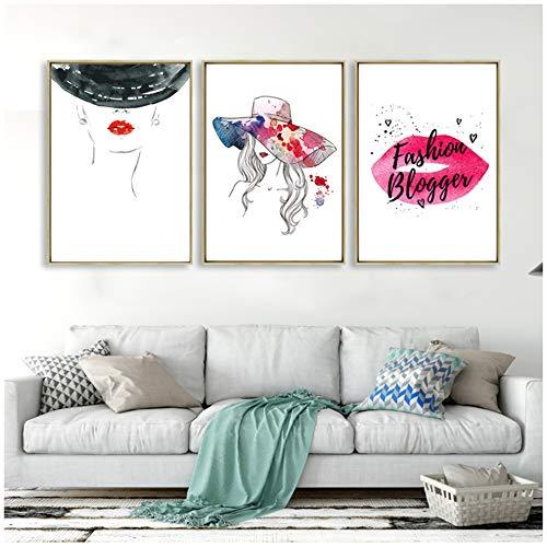 Afdrukken op canvas foto mode muur poster rode lippen maken canvas schilderij abstract hoed meisje foto's modern interieur 40x50cm (15.7x19.7 inch) x3 geen frame