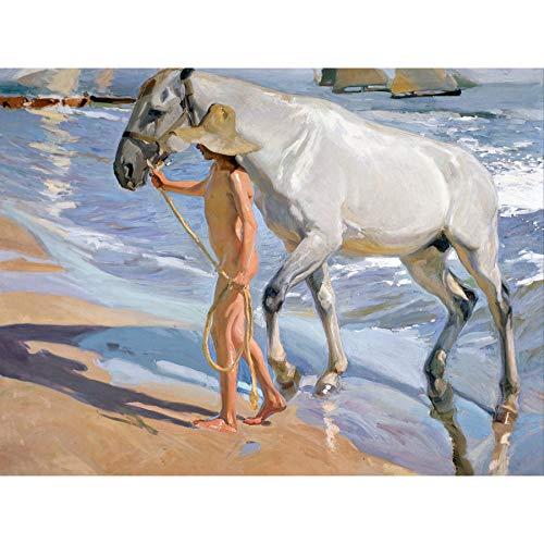 Joaquin Sorolla The Horses Bath Beach Sea Painting Large XL Wall Art Canvas Print Caballo Playa Pintura Pared