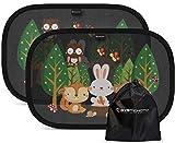Systemoto Sonnenschutz Auto Baby mit Zertifiziertem UV Schutz (2er Set) - Selbsthaftende Sonnenblenden für Kinder mit süßen Tier Motiven (Forest Animals))