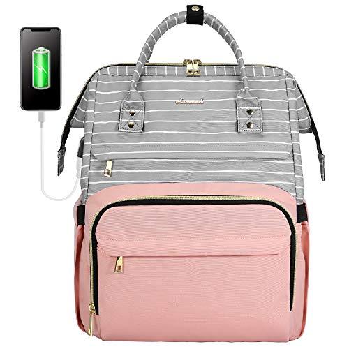 LOVEVOOK Zaino da donna alla moda per la scuola con scomparto per laptop da 15,6 pollici, grande con porta di ricarica USB, per università, viaggi, lavoro, grigio rosa