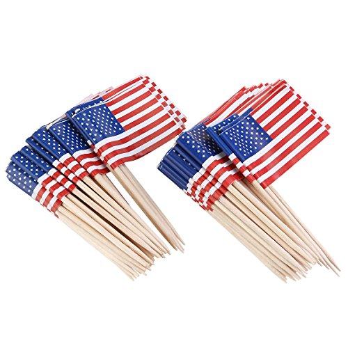 Amosfun Flaggen Picks Amerikanische Flagge Picks Amerikanische Flagge Lebensmittel Zahnstocher für Gastgeschenke Geburtstag Hochzeit Babyparty Cupcake Zahnstocher 100St